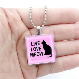 """Live Love Meow"" Pendant Cabochon Necklace"